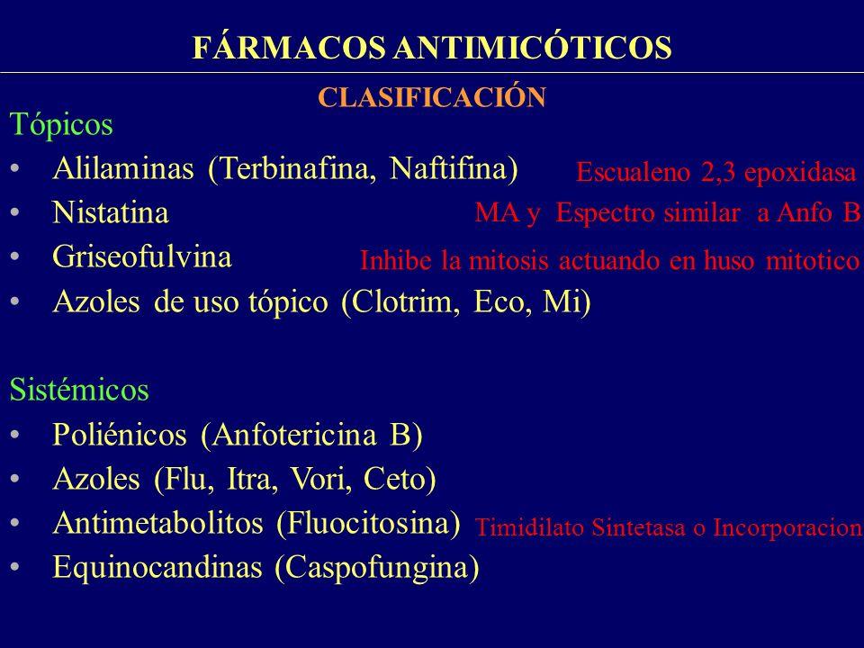 FÁRMACOS ANTIMICÓTICOS ANTIMICOTICOS SISTÉMICOS: AZOLES EFECTOS ADVERSOS Gastrointestinales, cefalea, exantema: + fctes Gastrointestinales, cefalea, prurito y vértigo: +fctes FLUCONAZOL ITRACONAZOL VORICONAZOL Alopecia Hipertensión Hipopotesemia Fotopsias: 30% Reversible Exantema cutaneo: evitar exposición al sol Elevación de transaminasas Hepatitis tóxica
