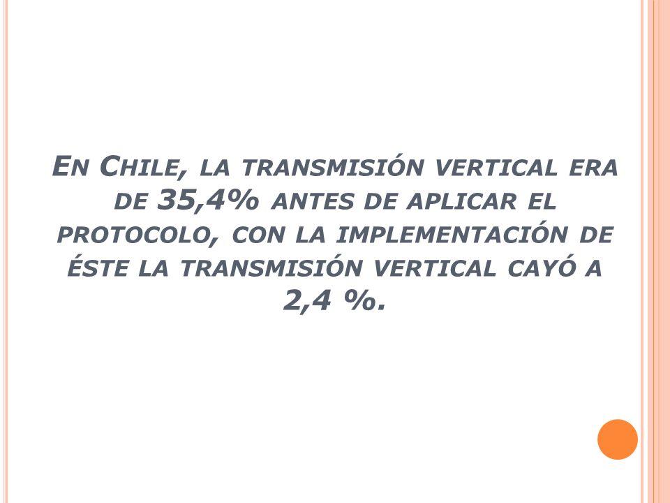 E N C HILE, LA TRANSMISIÓN VERTICAL ERA DE 35,4% ANTES DE APLICAR EL PROTOCOLO, CON LA IMPLEMENTACIÓN DE ÉSTE LA TRANSMISIÓN VERTICAL CAYÓ A 2,4 %.