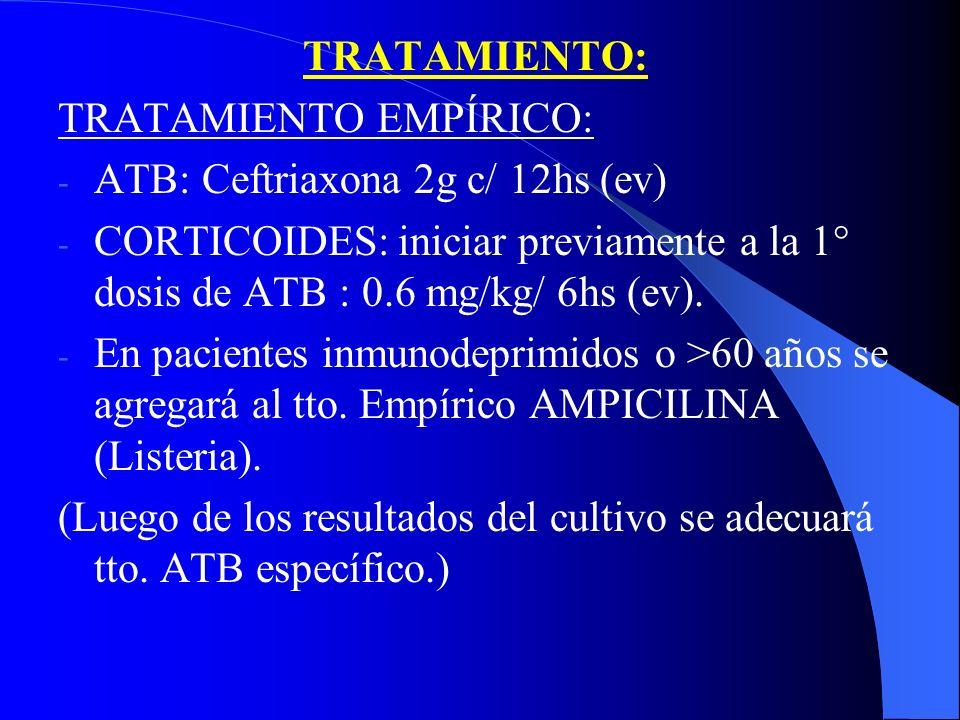 TRATAMIENTO: TRATAMIENTO EMPÍRICO: - ATB: Ceftriaxona 2g c/ 12hs (ev) - CORTICOIDES: iniciar previamente a la 1° dosis de ATB : 0.6 mg/kg/ 6hs (ev). -
