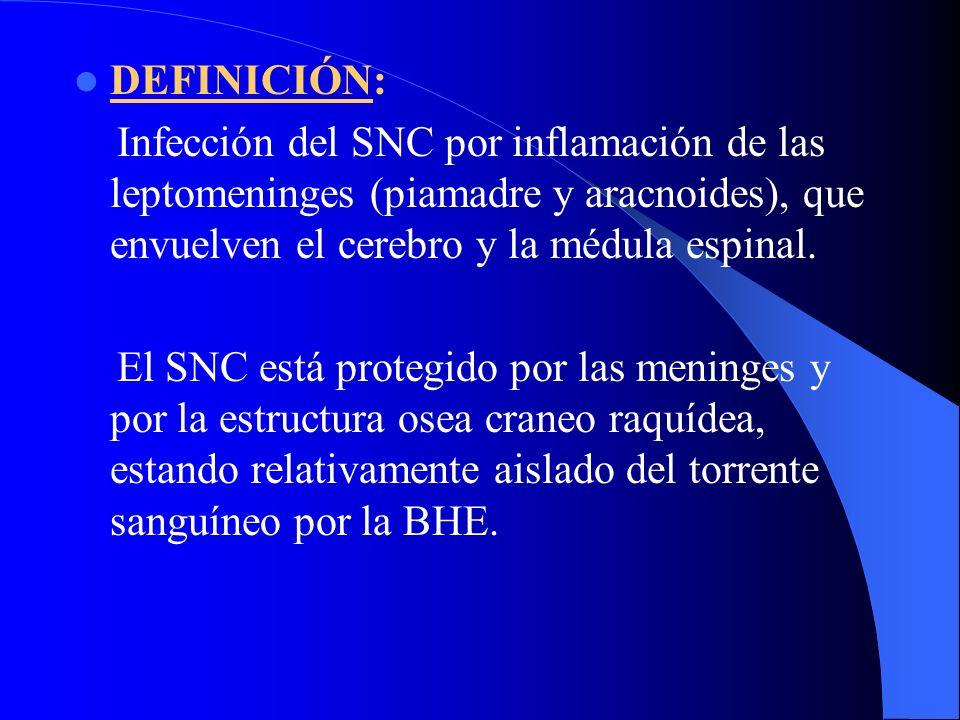DEFINICIÓN: Infección del SNC por inflamación de las leptomeninges (piamadre y aracnoides), que envuelven el cerebro y la médula espinal. El SNC está