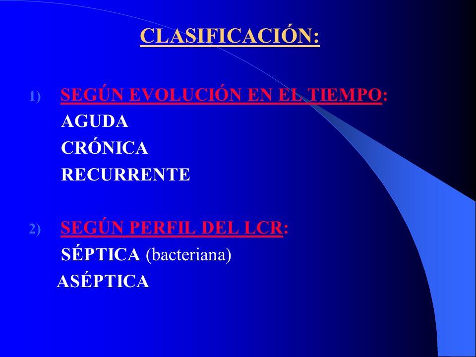 CLASIFICACIÓN: 1) SEGÚN EVOLUCIÓN EN EL TIEMPO: AGUDA CRÓNICA RECURRENTE 2) SEGÚN PERFIL DEL LCR: SÉPTICA (bacteriana) ASÉPTICA