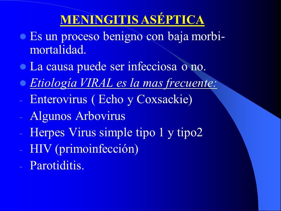 MENINGITIS ASÉPTICA Es un proceso benigno con baja morbi- mortalidad. La causa puede ser infecciosa o no. Etiología VIRAL es la mas frecuente: - Enter