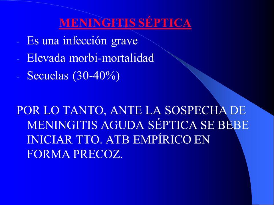 MENINGITIS SÉPTICA - Es una infección grave - Elevada morbi-mortalidad - Secuelas (30-40%) POR LO TANTO, ANTE LA SOSPECHA DE MENINGITIS AGUDA SÉPTICA
