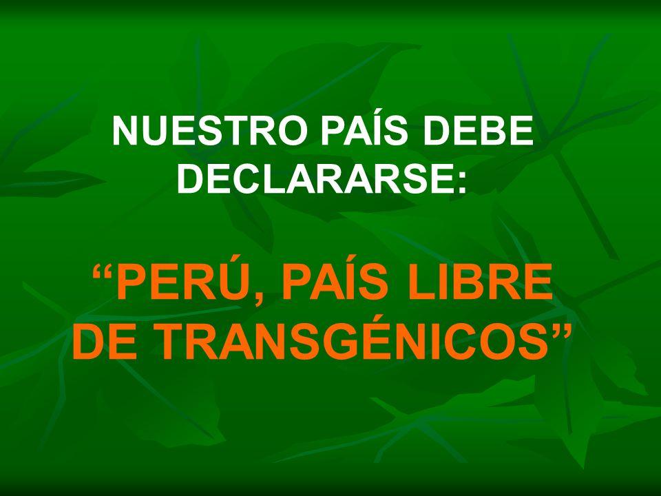 NUESTRO PAÍS DEBE DECLARARSE: PERÚ, PAÍS LIBRE DE TRANSGÉNICOS