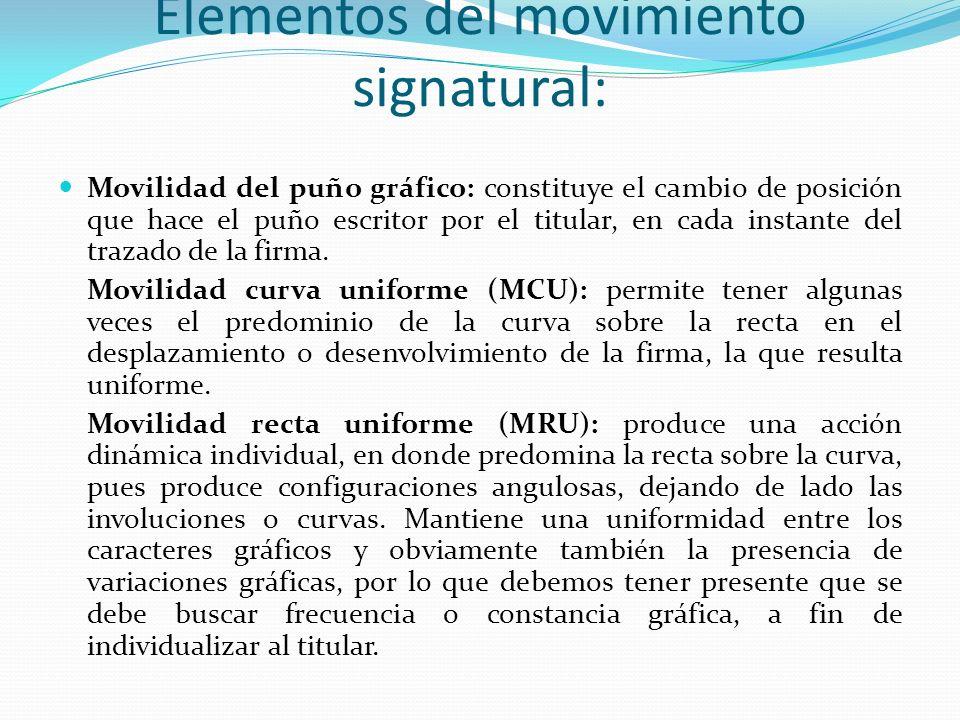 Elementos del movimiento signatural: Movilidad del puño gráfico: constituye el cambio de posición que hace el puño escritor por el titular, en cada in