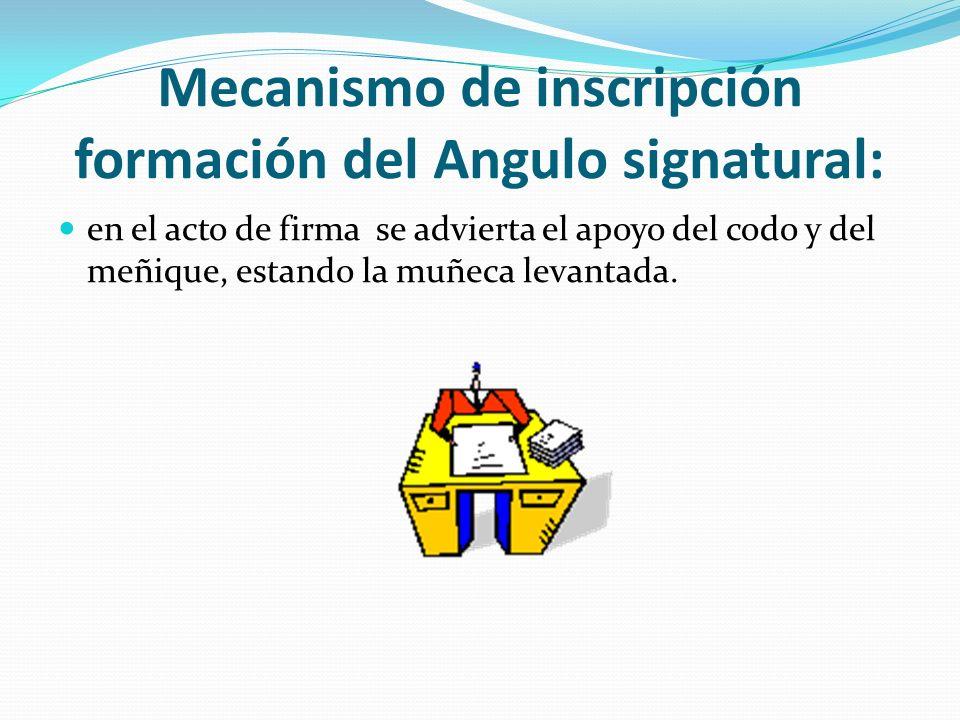 Mecanismo de inscripción formación del Angulo signatural: en el acto de firma se advierta el apoyo del codo y del meñique, estando la muñeca levantada