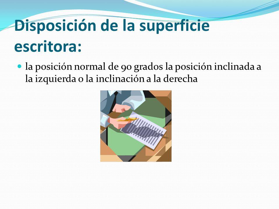 Disposición de la superficie escritora: la posición normal de 90 grados la posición inclinada a la izquierda o la inclinación a la derecha