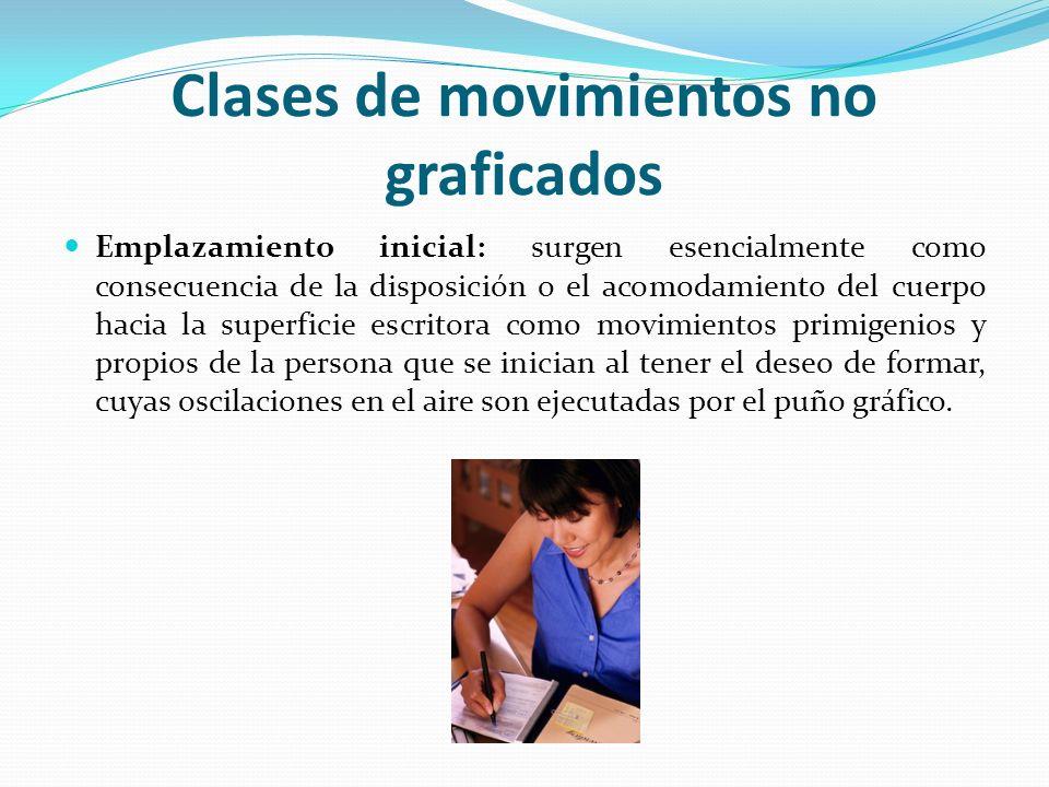 Clases de movimientos no graficados Emplazamiento inicial: surgen esencialmente como consecuencia de la disposición o el acomodamiento del cuerpo haci