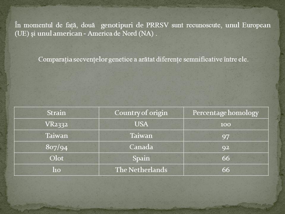 În momentul de faţă, două genotipuri de PRRSV sunt recunoscute, unul Europe an (UE) şi unul american - America de Nord (NA). C omparaţi a s ecvenţ elo