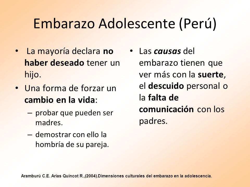 Embarazo Adolescente (Perú) La mayoría declara no haber deseado tener un hijo. Una forma de forzar un cambio en la vida: – probar que pueden ser madre