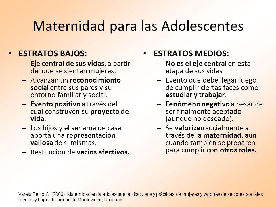 Maternidad para las Adolescentes ESTRATOS BAJOS: – Eje central de sus vidas, a partir del que se sienten mujeres, – Alcanzan un reconocimiento social