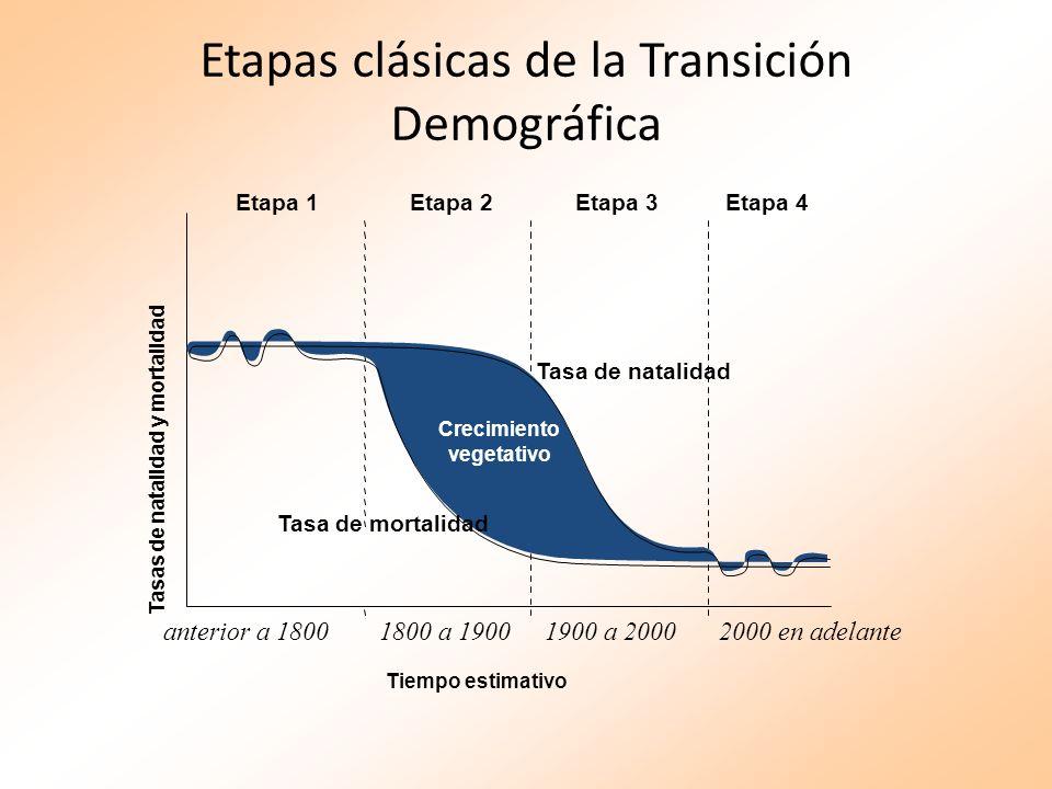 Etapas clásicas de la Transición Demográfica Tiempo estimativo Etapa 1Etapa 2Etapa 3Etapa 4 Crecimiento vegetativo Tasa de natalidad Tasa de mortalida