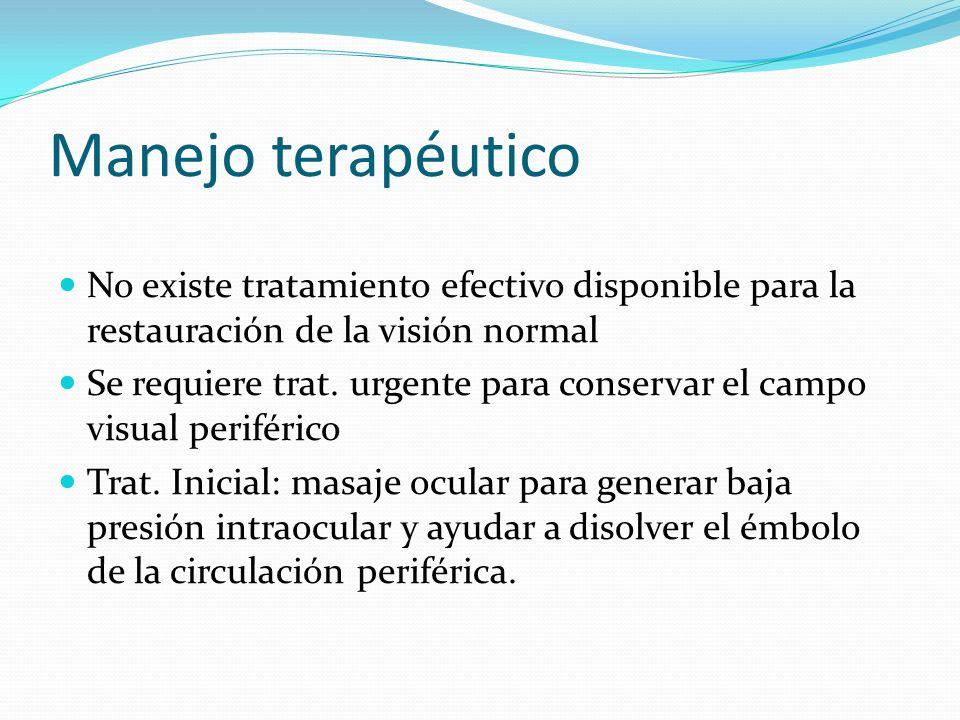 Manejo terapéutico No existe tratamiento efectivo disponible para la restauración de la visión normal Se requiere trat. urgente para conservar el camp