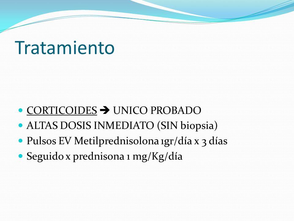 Tratamiento CORTICOIDES UNICO PROBADO ALTAS DOSIS INMEDIATO (SIN biopsia) Pulsos EV Metilprednisolona 1gr/día x 3 días Seguido x prednisona 1 mg/Kg/dí