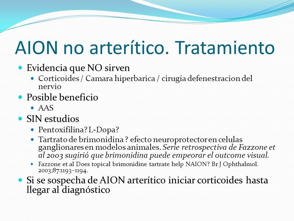 AION no arterítico. Tratamiento Evidencia que NO sirven Corticoides / Camara hiperbarica / cirugía defenestracion del nervio Posible beneficio AAS SIN