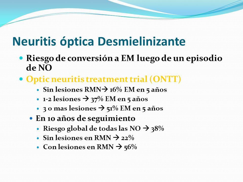 Neuritis óptica Desmielinizante Riesgo de conversión a EM luego de un episodio de NO Optic neuritis treatment trial (ONTT) Sin lesiones RMN 16% EM en