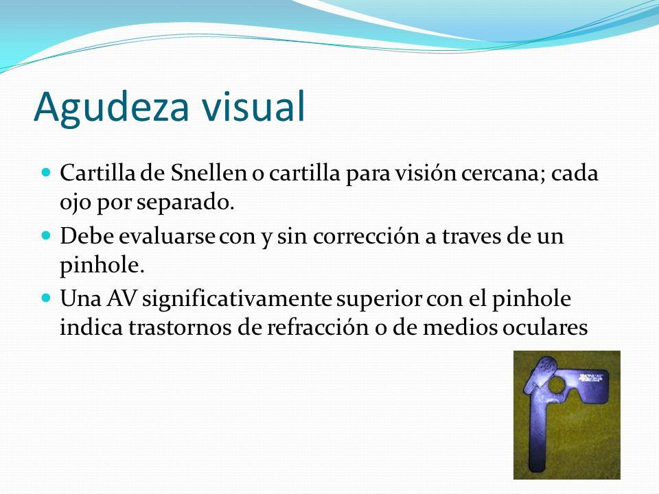Agudeza visual Cartilla de Snellen o cartilla para visión cercana; cada ojo por separado. Debe evaluarse con y sin corrección a traves de un pinhole.