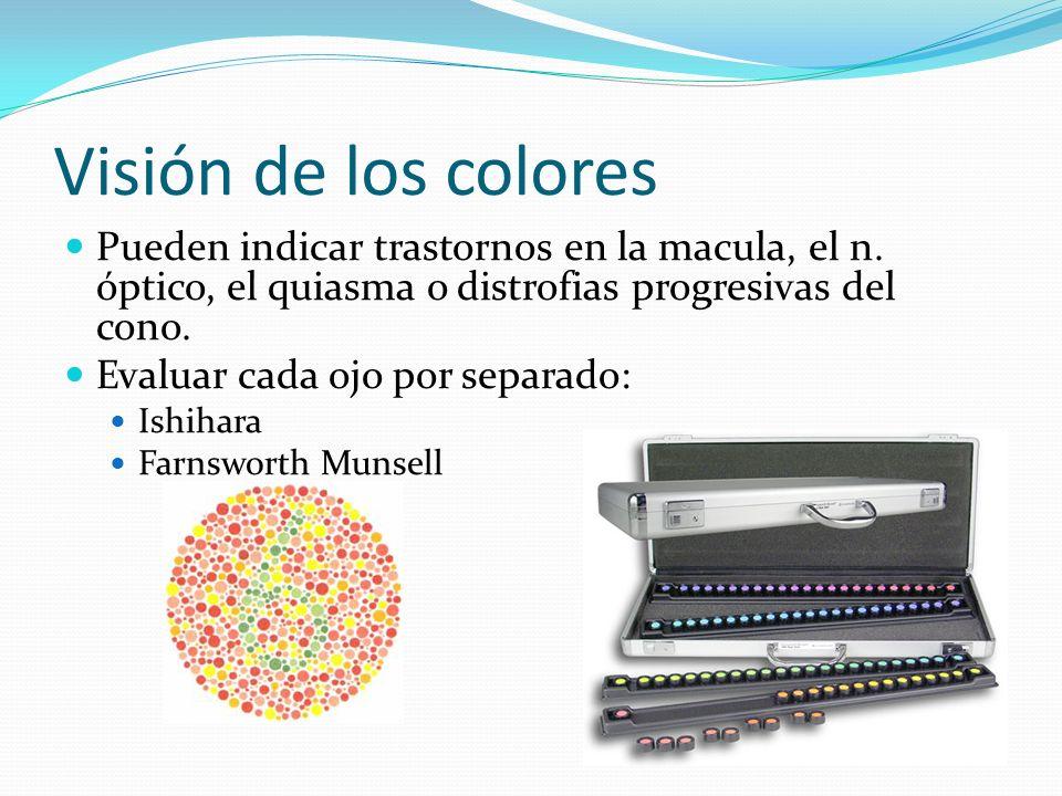 Visión de los colores Pueden indicar trastornos en la macula, el n. óptico, el quiasma o distrofias progresivas del cono. Evaluar cada ojo por separad