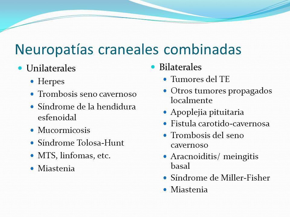 Neuropatías craneales combinadas Unilaterales Herpes Trombosis seno cavernoso Síndrome de la hendidura esfenoidal Mucormicosis Síndrome Tolosa-Hunt MT