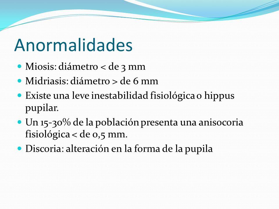 Anormalidades Miosis: diámetro < de 3 mm Midriasis: diámetro > de 6 mm Existe una leve inestabilidad fisiológica o hippus pupilar. Un 15-30% de la pob