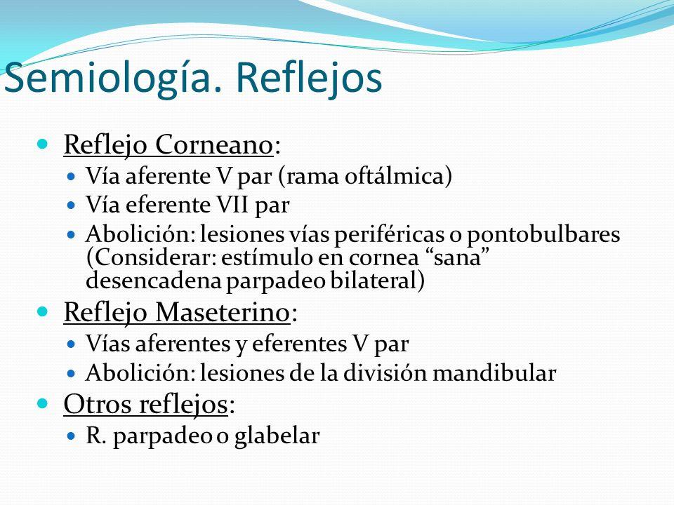 Semiología. Reflejos Reflejo Corneano: Vía aferente V par (rama oftálmica) Vía eferente VII par Abolición: lesiones vías periféricas o pontobulbares (