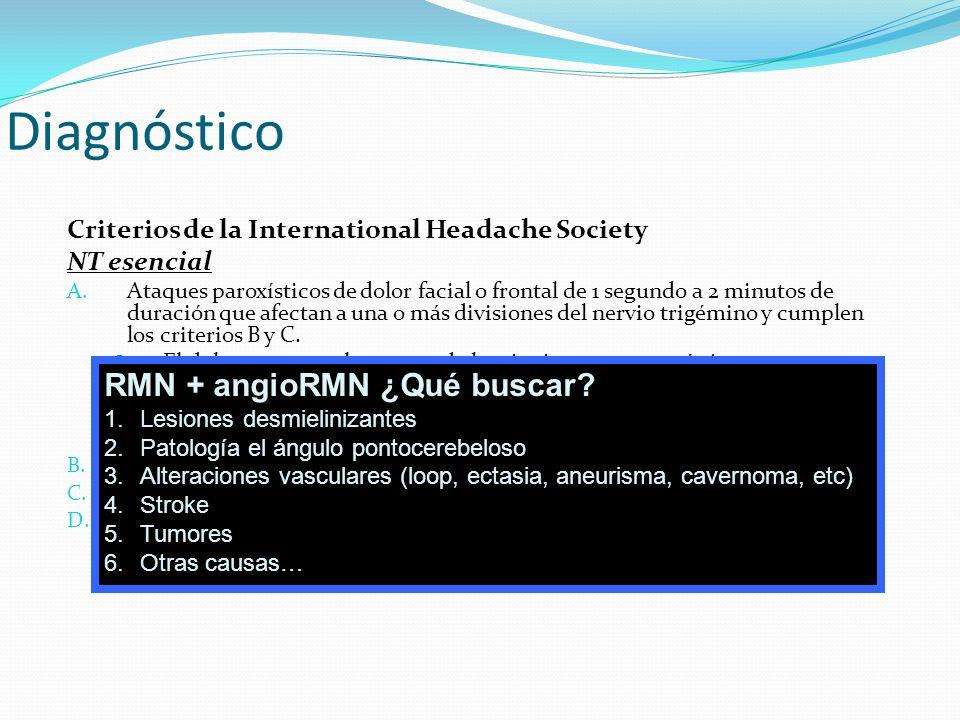 Diagnóstico Criterios de la International Headache Society NT esencial A. Ataques paroxísticos de dolor facial o frontal de 1 segundo a 2 minutos de d