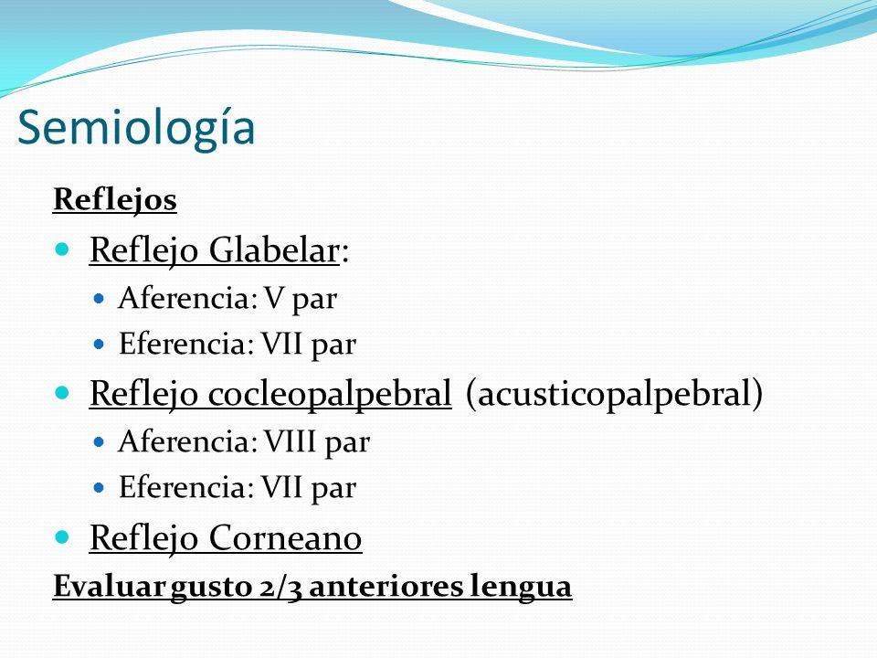 Semiología Reflejos Reflejo Glabelar: Aferencia: V par Eferencia: VII par Reflejo cocleopalpebral (acusticopalpebral) Aferencia: VIII par Eferencia: V