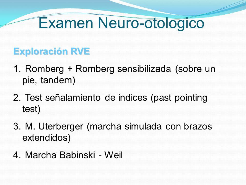 Examen Neuro-otologico Exploración RVE 1. Romberg + Romberg sensibilizada (sobre un pie, tandem) 2. Test señalamiento de indices (past pointing test)
