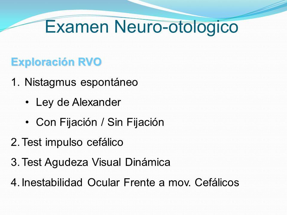 Examen Neuro-otologico Exploración RVO 1. Nistagmus espontáneo Ley de Alexander Con Fijación / Sin Fijación 2.Test impulso cefálico 3.Test Agudeza Vis