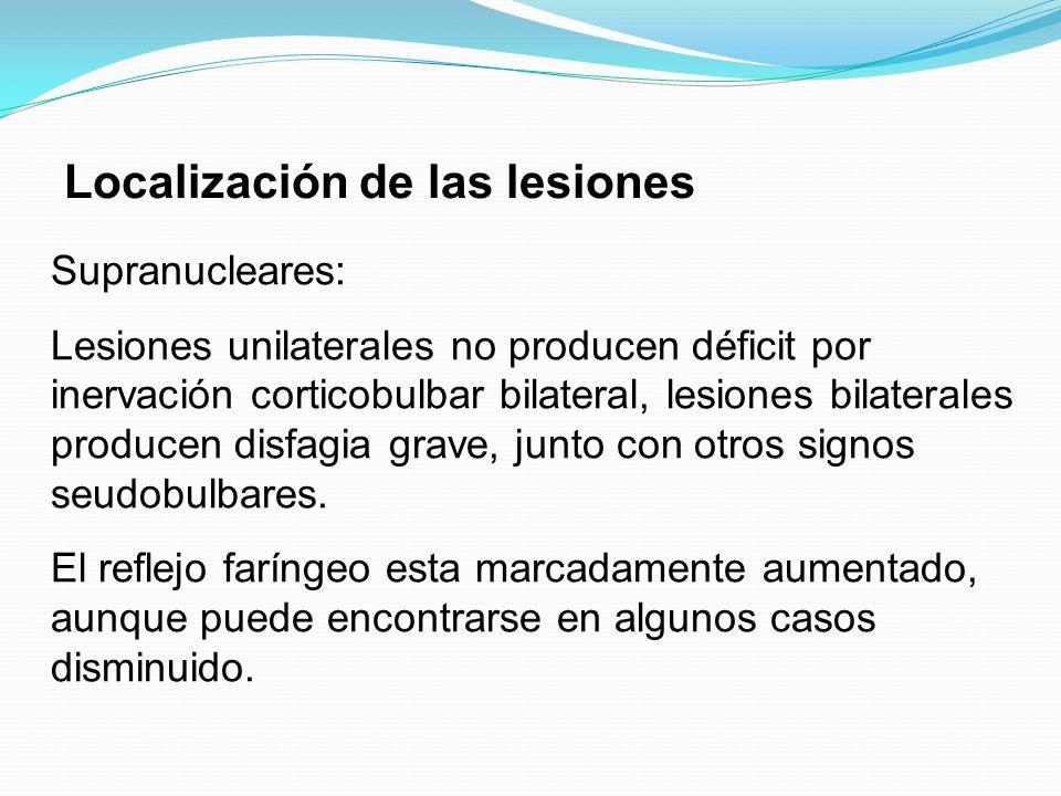 Localización de las lesiones Supranucleares: Lesiones unilaterales no producen déficit por inervación corticobulbar bilateral, lesiones bilaterales pr