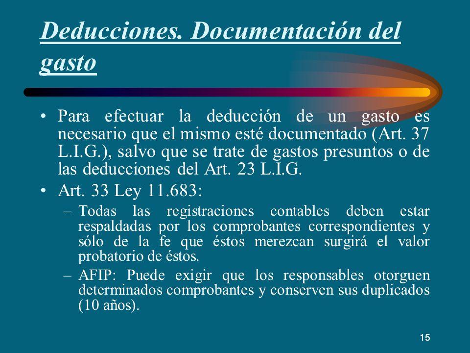 Deducciones. Documentación del gasto Para efectuar la deducción de un gasto es necesario que el mismo esté documentado (Art. 37 L.I.G.), salvo que se