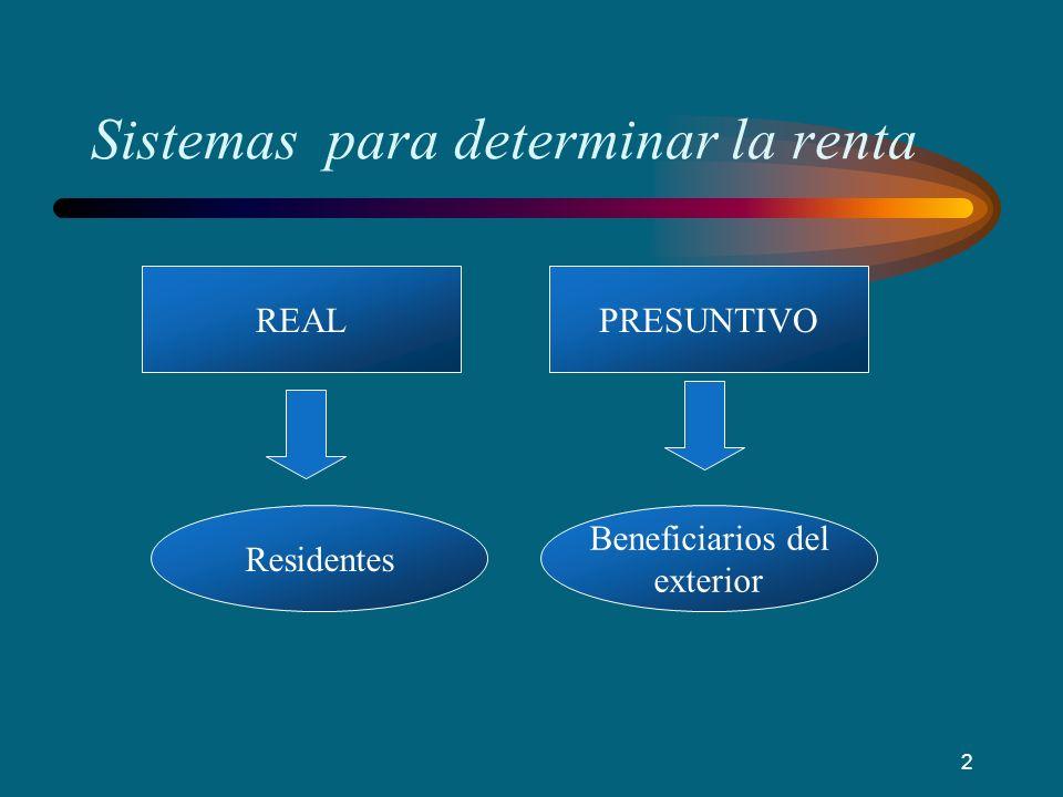 Sistemas para determinar la renta PRESUNTIVOREAL Residentes Beneficiarios del exterior 2