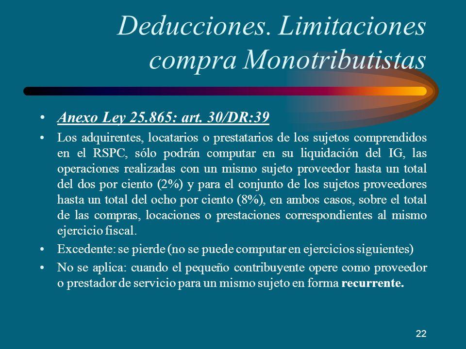 Deducciones. Limitaciones compra Monotributistas Anexo Ley 25.865: art. 30/DR:39 Los adquirentes, locatarios o prestatarios de los sujetos comprendido