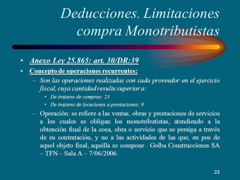 Deducciones. Limitaciones compra Monotributistas Anexo Ley 25.865: art. 30/DR:39 Concepto de operaciones recurrentes: –Son las operaciones realizadas