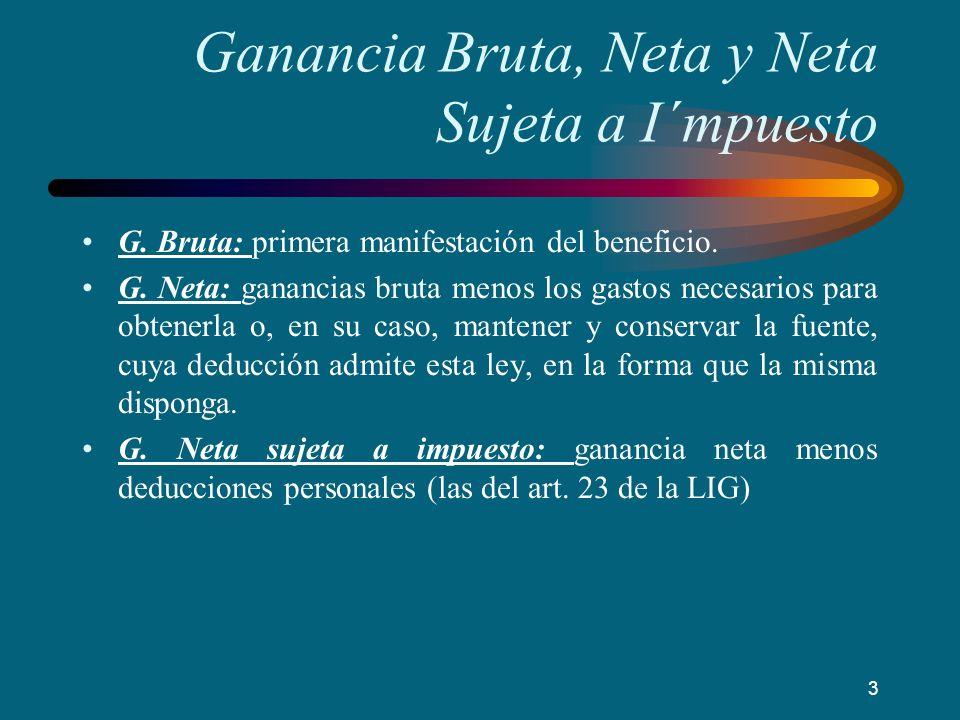 Ganancia Bruta, Neta y Neta Sujeta a I´mpuesto G. Bruta: primera manifestación del beneficio. G. Neta: ganancias bruta menos los gastos necesarios par