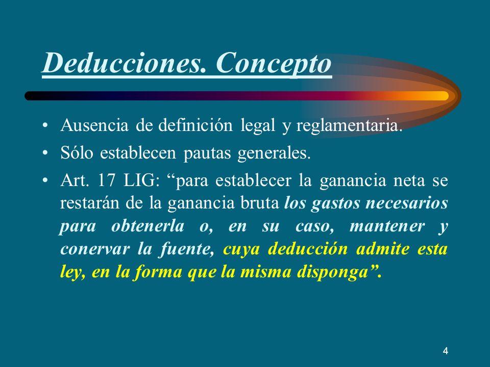 Deducciones. Concepto Ausencia de definición legal y reglamentaria. Sólo establecen pautas generales. Art. 17 LIG: para establecer la ganancia neta se