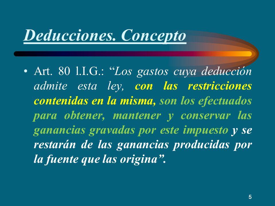 Deducciones. Concepto Art. 80 l.I.G.: Los gastos cuya deducción admite esta ley, con las restricciones contenidas en la misma, son los efectuados para