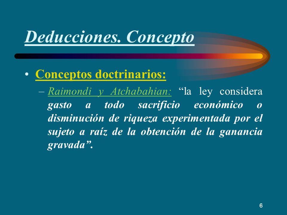 Deducciones. Concepto Conceptos doctrinarios: –Raimondi y Atchabahian: la ley considera gasto a todo sacrificio económico o disminución de riqueza exp