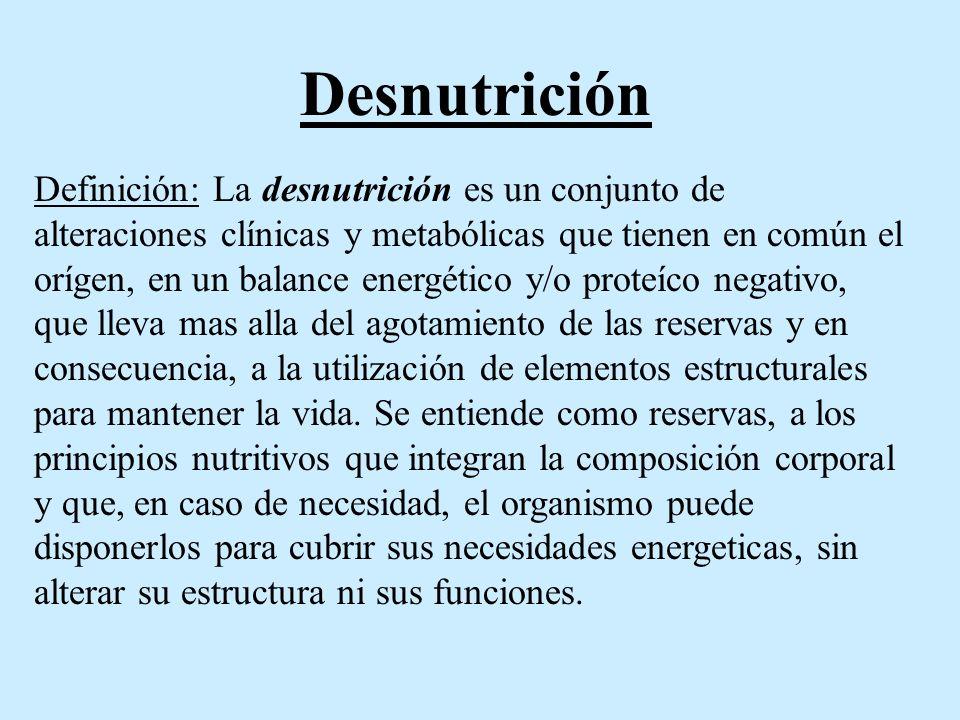 Tipos de desnutrición -Según su etiología Desnutrición primaria: Es aquella que sucede por la disminución prolongada del aporte calórico proteíco, con alteraicones de la estructura y función del organismo.