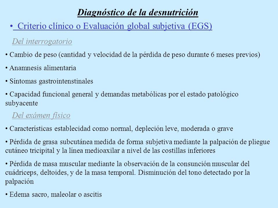 Criterio Antropométrico Comprende la medición del peso corporal.