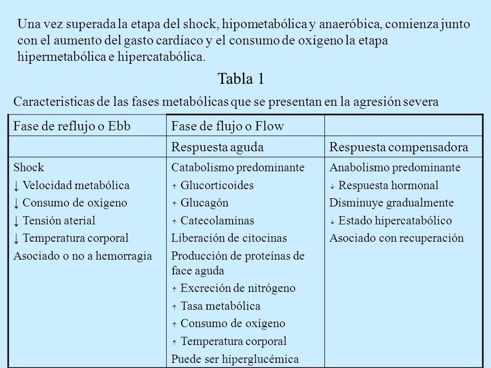 En esta segunda etapa, todo el cambio hormonal y la liberación y acción en cascada de citoquinas está destinado, entre otros motivos, al mantenimiento nutricional de la respuesta inflamatoria sistemática (SRIS).