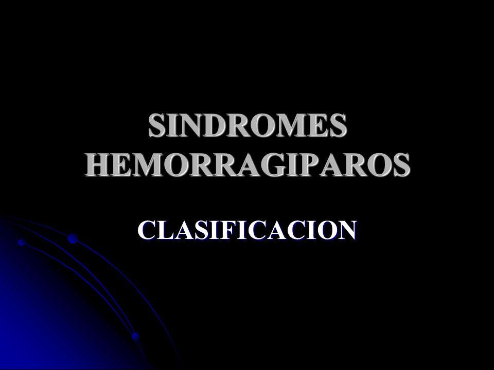 SINDROMES HEMORRAGIPAROS CLASIFICACION