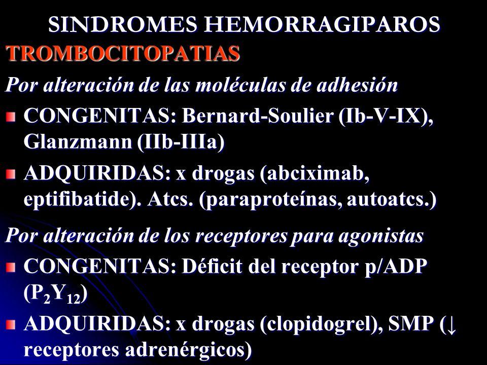 SINDROMES HEMORRAGIPAROS TROMBOCITOPATIAS Por alteración de las moléculas de adhesión CONGENITAS: Bernard-Soulier (Ib-V-IX), Glanzmann (IIb-IIIa) ADQU