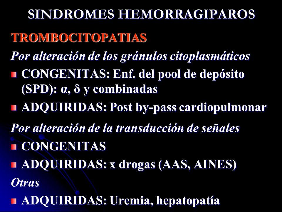 SINDROMES HEMORRAGIPAROS TROMBOCITOPATIAS Por alteración de los gránulos citoplasmáticos CONGENITAS: Enf. del pool de depósito (SPD): α, δ y combinada