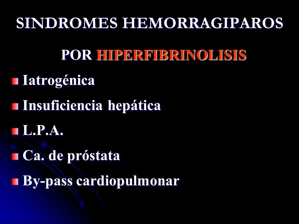 SINDROMES HEMORRAGIPAROS POR HIPERFIBRINOLISIS Iatrogénica Insuficiencia hepática L.P.A. Ca. de próstata By-pass cardiopulmonar