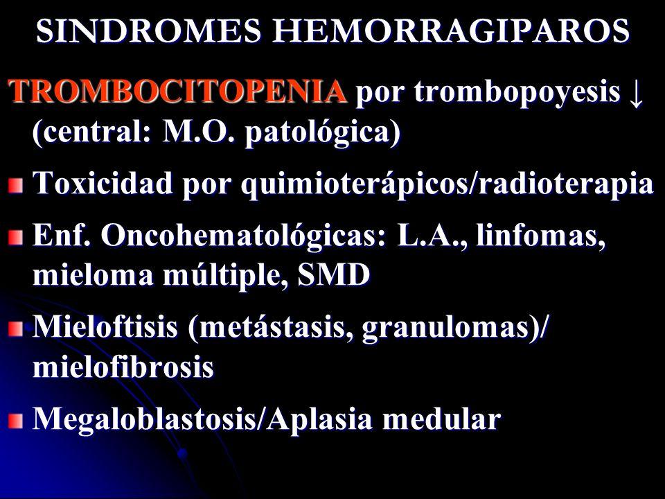 SINDROMES HEMORRAGIPAROS TROMBOCITOPENIA por trombopoyesis (central: M.O. patológica) Toxicidad por quimioterápicos/radioterapia Enf. Oncohematológica