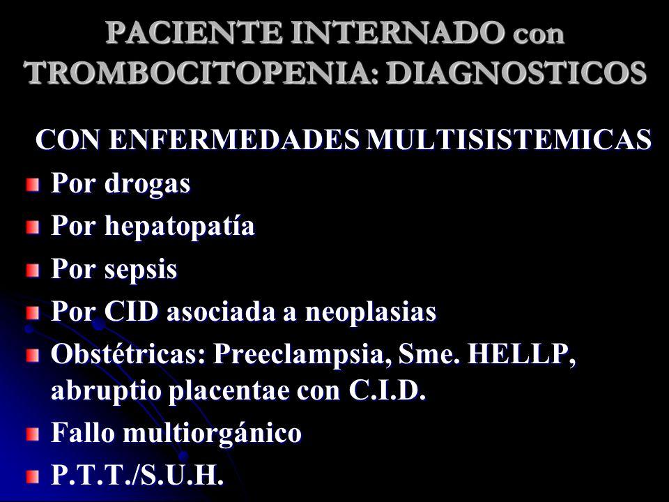 PACIENTE INTERNADO con TROMBOCITOPENIA: DIAGNOSTICOS CON ENFERMEDADES MULTISISTEMICAS Por drogas Por hepatopatía Por sepsis Por CID asociada a neoplas
