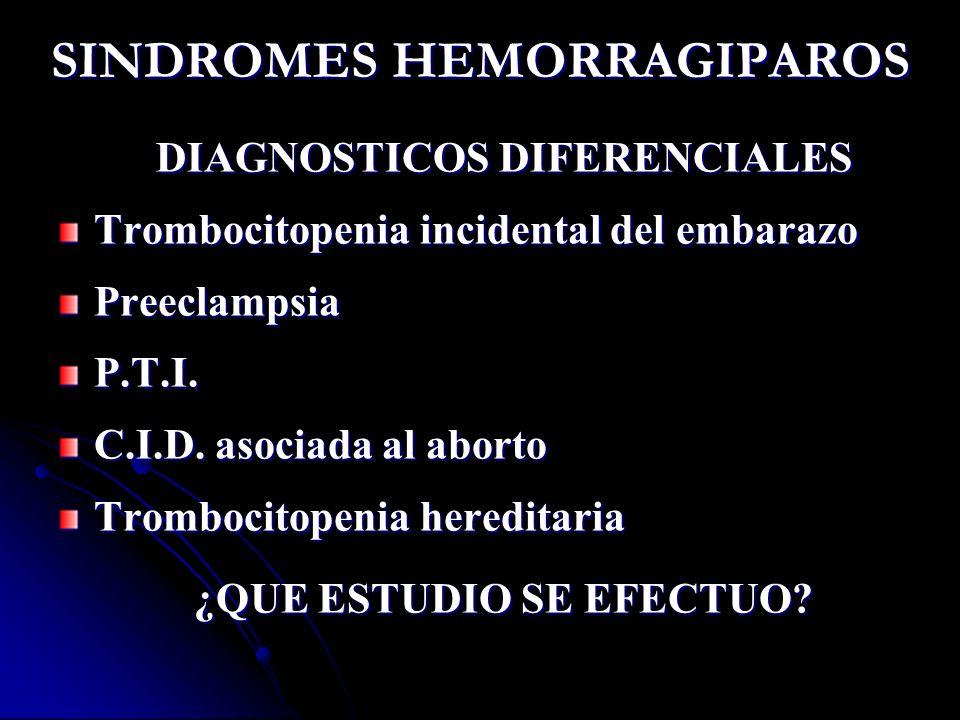 SINDROMES HEMORRAGIPAROS DIAGNOSTICOS DIFERENCIALES Trombocitopenia incidental del embarazo PreeclampsiaP.T.I. C.I.D. asociada al aborto Trombocitopen