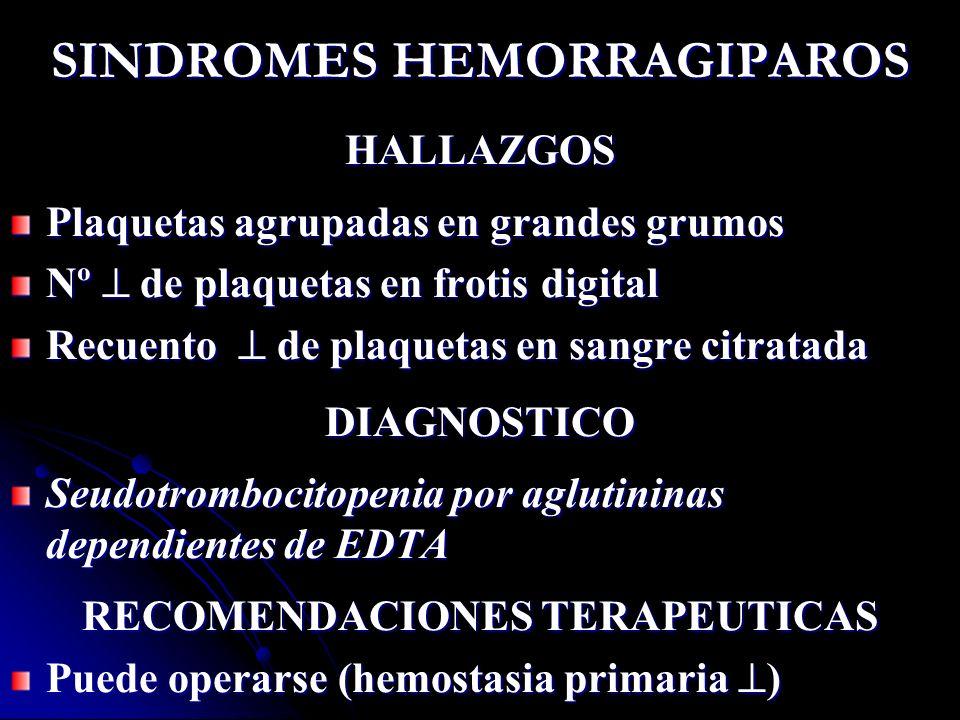 SINDROMES HEMORRAGIPAROS HALLAZGOS Plaquetas agrupadas en grandes grumos Nº de plaquetas en frotis digital Recuento de plaquetas en sangre citratada D