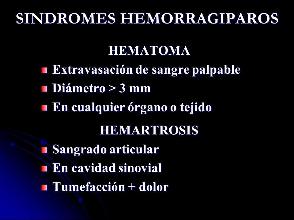 SINDROMES HEMORRAGIPAROS HEMATOMA Extravasación de sangre palpable Diámetro > 3 mm En cualquier órgano o tejido HEMARTROSIS Sangrado articular En cavi